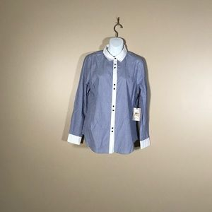 NWT Ivanka Trump Blue and White Button Up Top